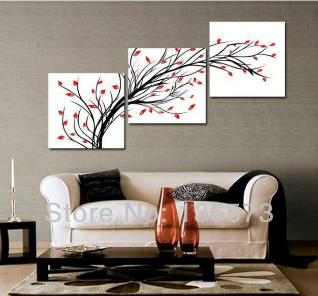 Handmade simple abstract painting 3 piece wall art set modern oil paintings flowers living room - Wall paintings for living room ...
