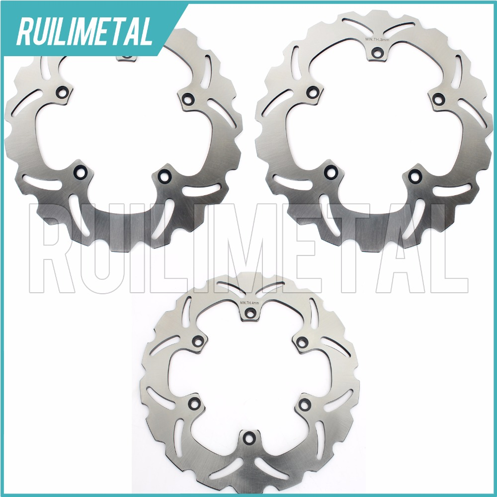 Full Set Front Rear Brake Discs Rotors For XP T MAX scooter 500 2004 2005 2006 2007 04 05 06 07 2004-2007 mfs motor motorcycle part front rear brake discs rotor for yamaha yzf r6 2003 2004 2005 yzfr6 03 04 05 gold