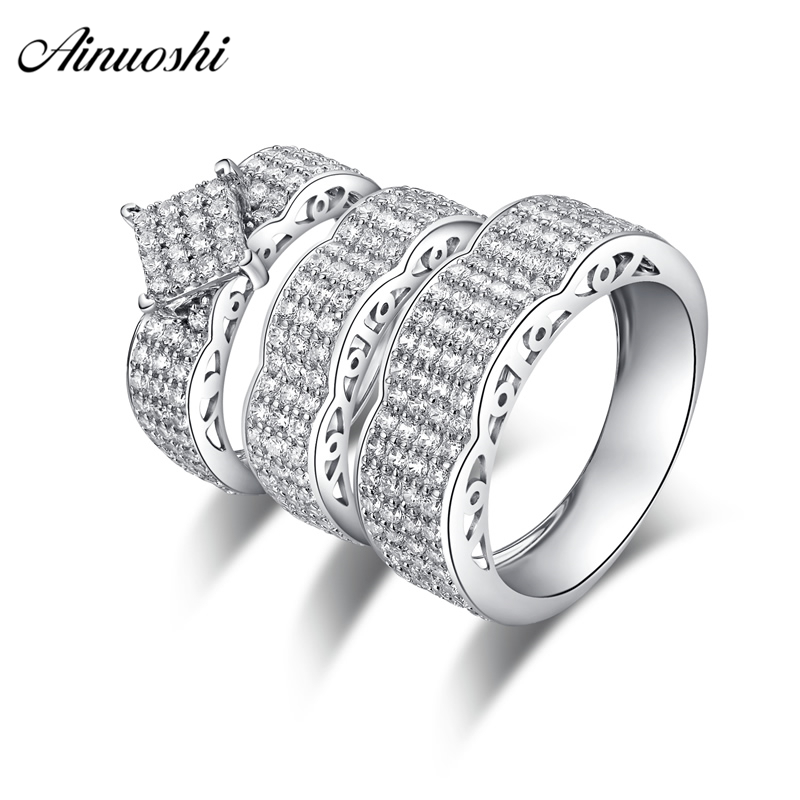 AINUOSHI Classic 925 Sterling Silver Couple Wedding Engagement Rings Sets Women Men Anniversary Lover Promise Ring Sets Gifts men wedding band cz rings jewelry silver color anillos bague aneis ringen promise couple engagement rings for women