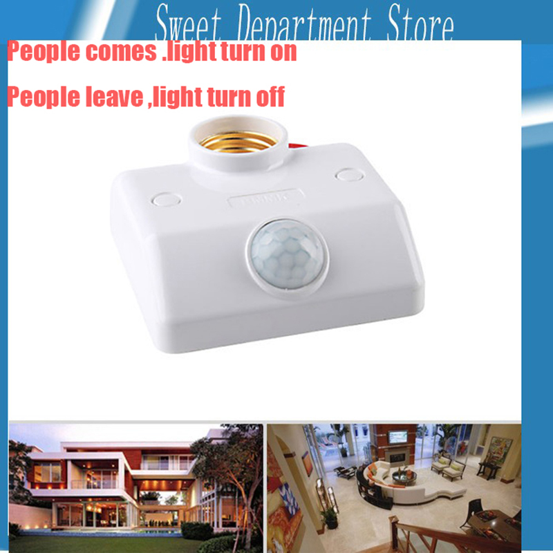 Automatic Human Body Infrared IR Sensor LED Bulb Light E27 Base PIR Motion Detector Wall Lamp E27 Holder Socket AC 180V-250V 1pcs electric indicator 90 1000v socket wall ac power outlet voltage detector sensor tester pen led light drop ship wholesale