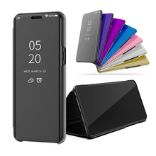 Smart Flip Stand Mirror Case For Samsung Galaxy S10 Clear View PU Leather Cover for
