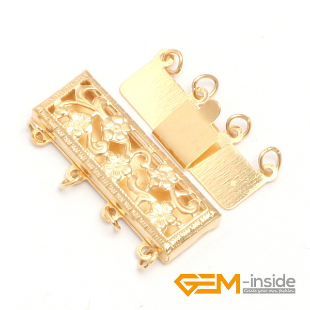 clasp: GF0005 4 Strings Filigree 14K Gold Filled Jewelry Clasp 8X24MM one PCS to sale for jewelry making  wholesale!