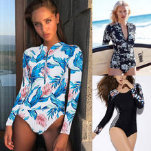 2017 Print Floral One Piece Swimsuit Long Sleeve Swimwear Women Bathing Suit Retro Swimsuit Vintage One-piece Surfing Swim Suits(China)