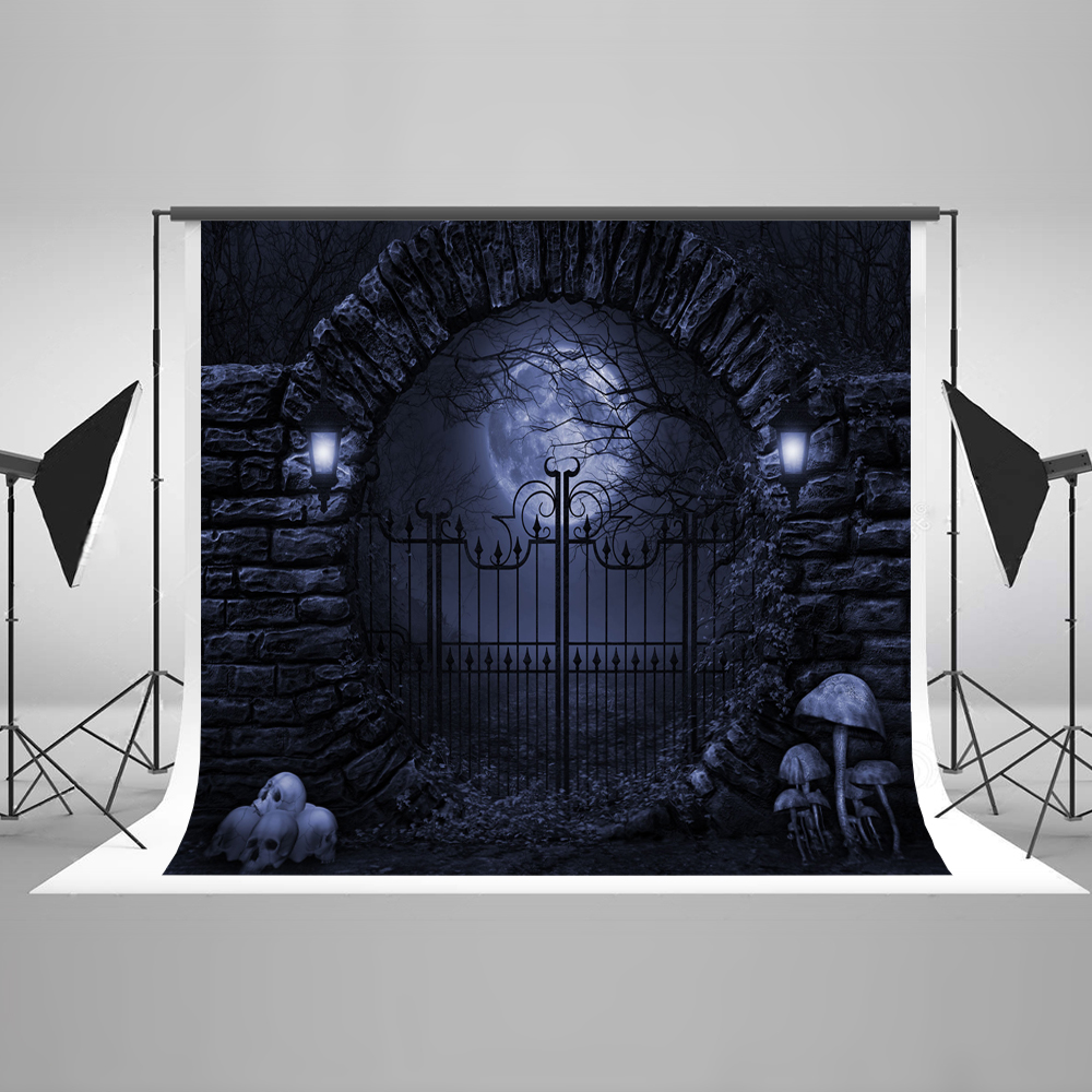 Kate Halloween 10x10ft Photography Background Iron Gate Backgrounds For Photo Studio Moon Skeleton Photo Background plastic standing human skeleton life size for horror hunted house halloween decoration
