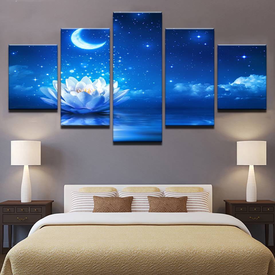 Leinwand HD Drucke Poster Wohnzimmer Wandkunst 5 Stücke Weiß Lotus Malerei Wohnkultur Moonlight Wasser Lilien Blumen Bilder