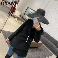 OXANT для женщин блейзер Весна 2019 дизайн чувство талии большой жемчуг Кнопка нерегулярные раза пиджак пальто пиджаки для куртки