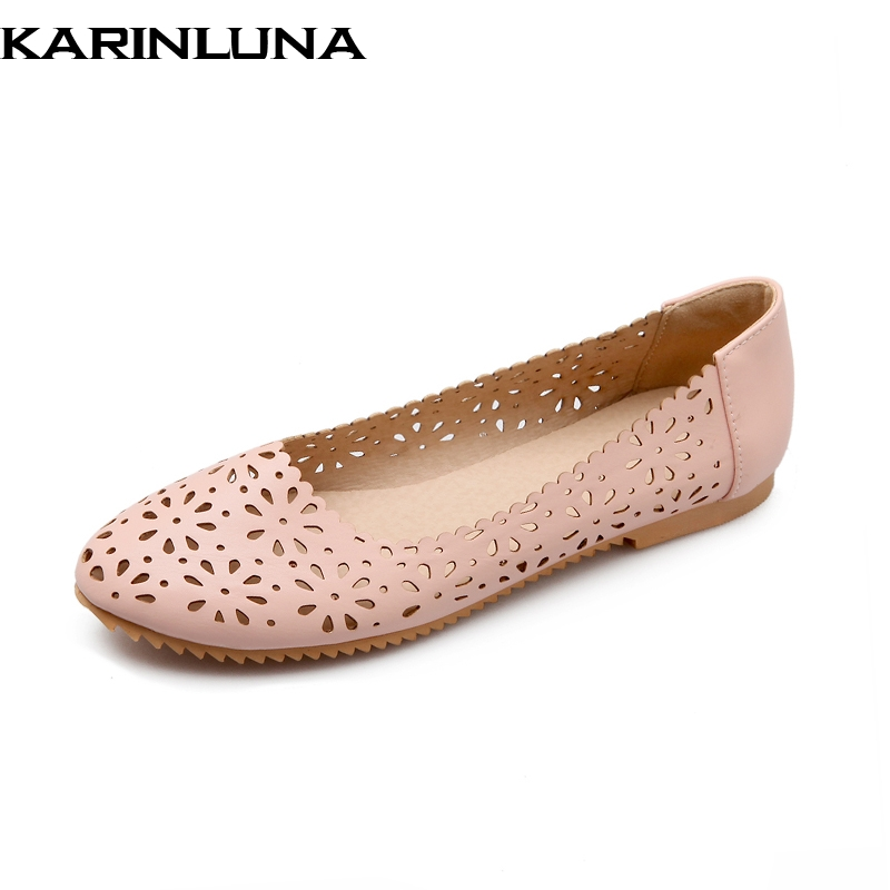 KARINLUNA 2018 Brand High Quality Fashion Hollow Large Size 32-47 Comfortable Summer Shoes Women Flats Woman Shoes 4 Colors new 2017 spring summer women shoes pointed toe high quality brand fashion womens flats ladies plus size 41 sweet flock t179