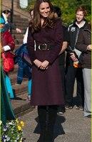 Kate Middleton Princess Wool Coat Fashion Warm Winter long wine red Wool Blends coat