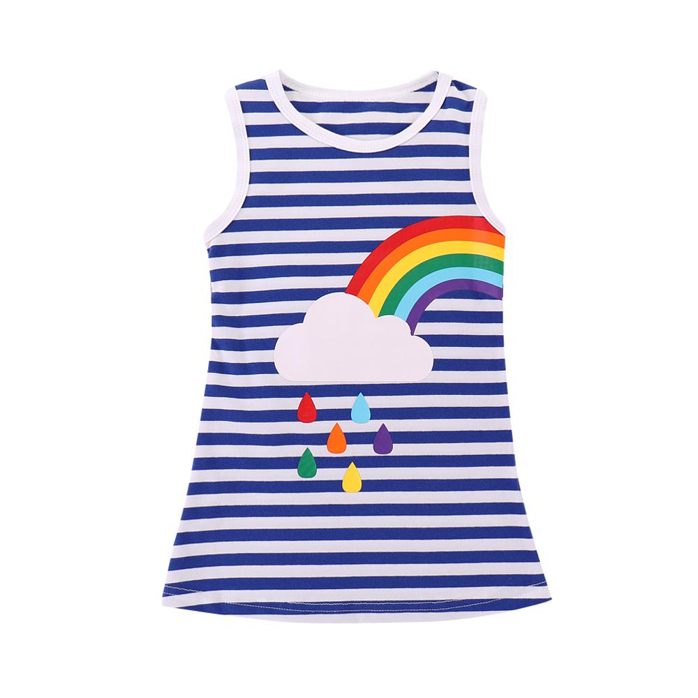 Kids Girls Twins Summer Dress Rainbow Striped Printed Sister Princess Party Sundress Baby Sleeveless Clothes Outfit 1 6 Years in Dresses from Mother Kids