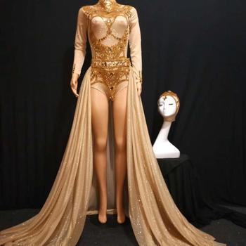 High Elastic Women Costume Gold Bling Celebrate Bodysuit Sexy  Night Club Bodysuit