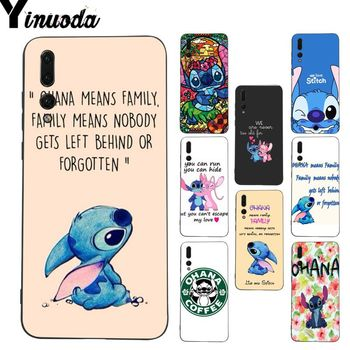 Yinuoda Lilo and Stitch Quote Ohana means Family Phone Case for Huawei P9 P10 Plus Mate9 10 Mate10 Lite P20 Pro Honor10 View10 telephony