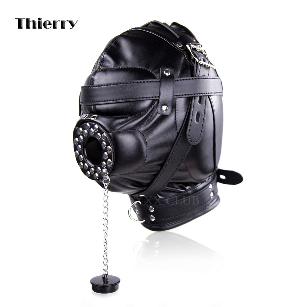 Thierry Sensory Deprivation Hood with Open Mouth Gag, bondage sex toys for couples slave SM adult game sensory deception