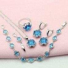 Wpaitkys moda cielo azul piedra de color plata pendientes de la joyería para las mujeres choker pulsera colgante anillo de collar de caja de regalo libre