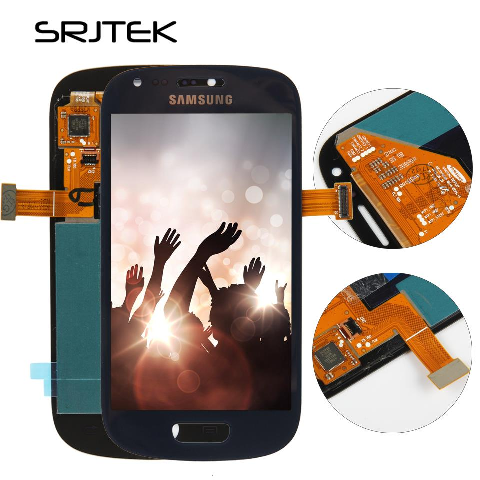 Pour Samsung galaxy S3 Mini i8190 LCD Affichage Tactile Digitizer Capteur Verre Assemblée Avec Cadre I8190N I8195 Sans Bouton À La Maison
