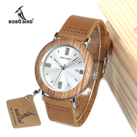 BOBO BIRD Men Wooden Watches Leather Strap Men Women's Quartz Wristwatch Imitation Diamond Senhoras assistir In Gift Box O28