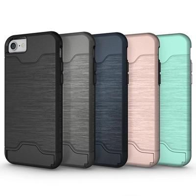 a2d6d814705 SHUOHU diapositiva de la tarjeta de crédito tarjeta ranura de teléfono caso  para el iPhone 6 6 S 7 8 más doble capa TPU Armadura shockproof  contraportada ...