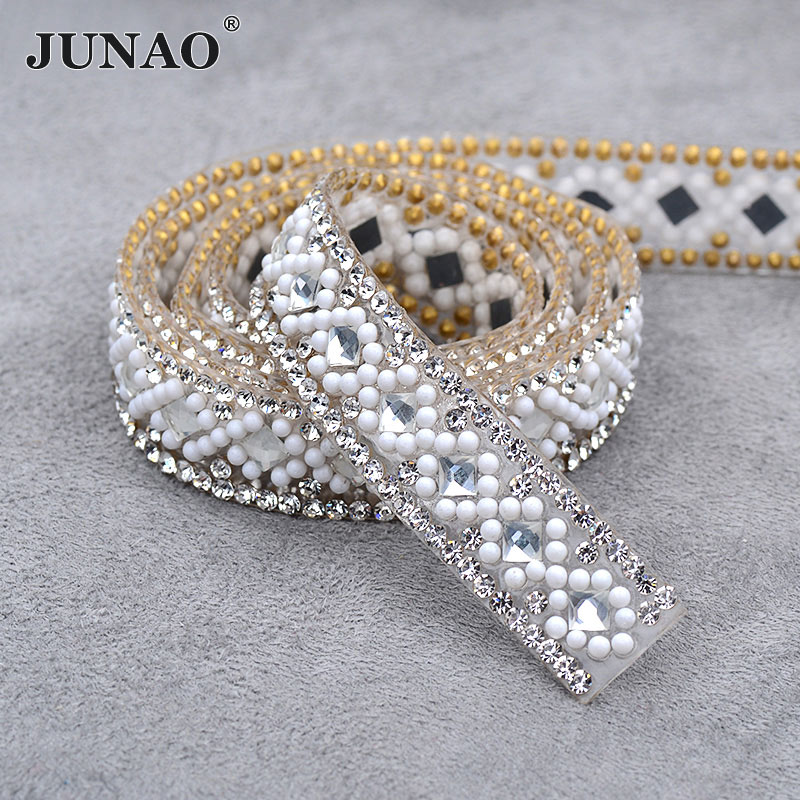 JUNAO 5 Yard*15mm Clear White Hotfix Rhinestone Fabric Chain Glass Trim Bridal Applique Strass Crystal Mesh Banding For Clothes