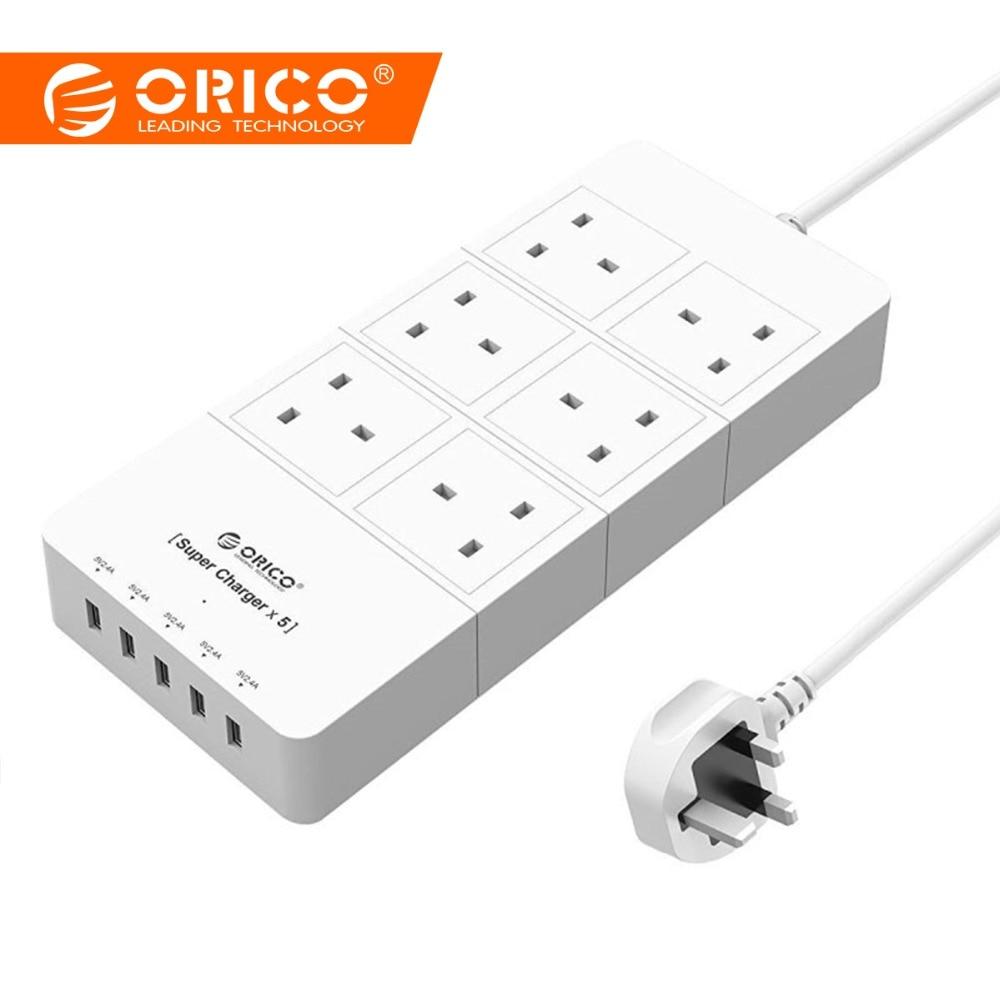ORICO HPC-6A5U-UK-WH Home office UK Plug USB adaptateur de chargeur de voyage avec 6 barre d'alimentation parasurtenseur 5 Pieds Cordon D'alimentation