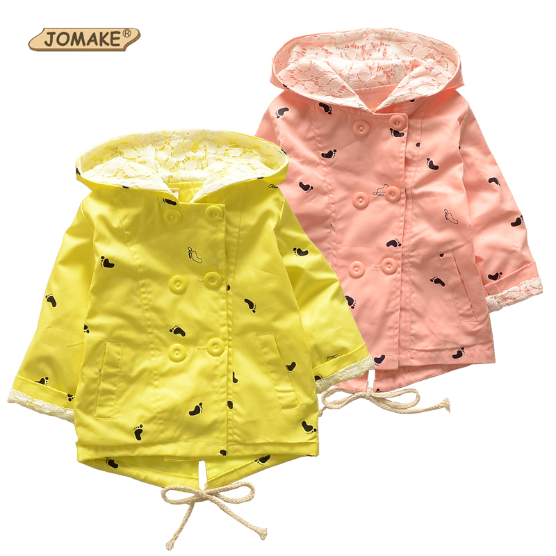 Retail 2018 Spring New Baby Girls Thin Cotton Jacket Coat Child Hooded Little Feet Printed Double-breasted Fashion Windbreaker ...