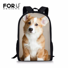 FORUDESIGNS Welsh Corgi Pembroke Print Children School Bag Backpack in Primary Student Boys Girls Bookbags Orthopedic Kids 2018