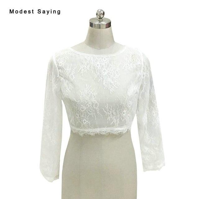 006502bed4 Marfim elegante Boat Neck Lace Manga Comprida Bridal Bolero de renda Capes  2017 Branco Jaquetas De