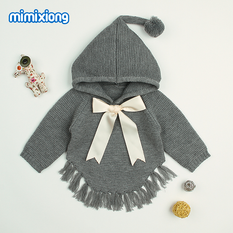 ad254ab8d Baby Girls Sweaters Cardigans Autumn Hooded Children Knitted ...