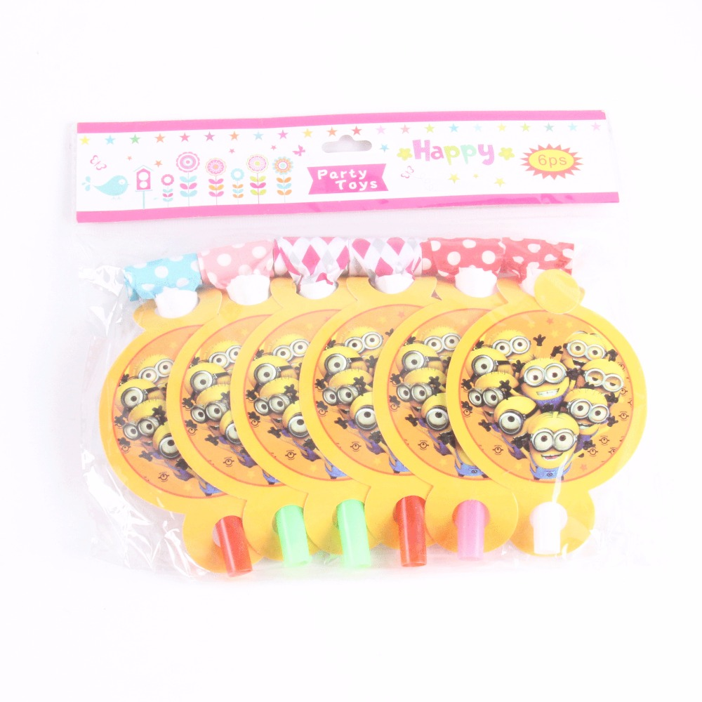6 pcs/lot Cute Minions Party Supplies Whistles Childrens Birthday Party Blowout Baby Birthday Supplies Minions Party Gifts