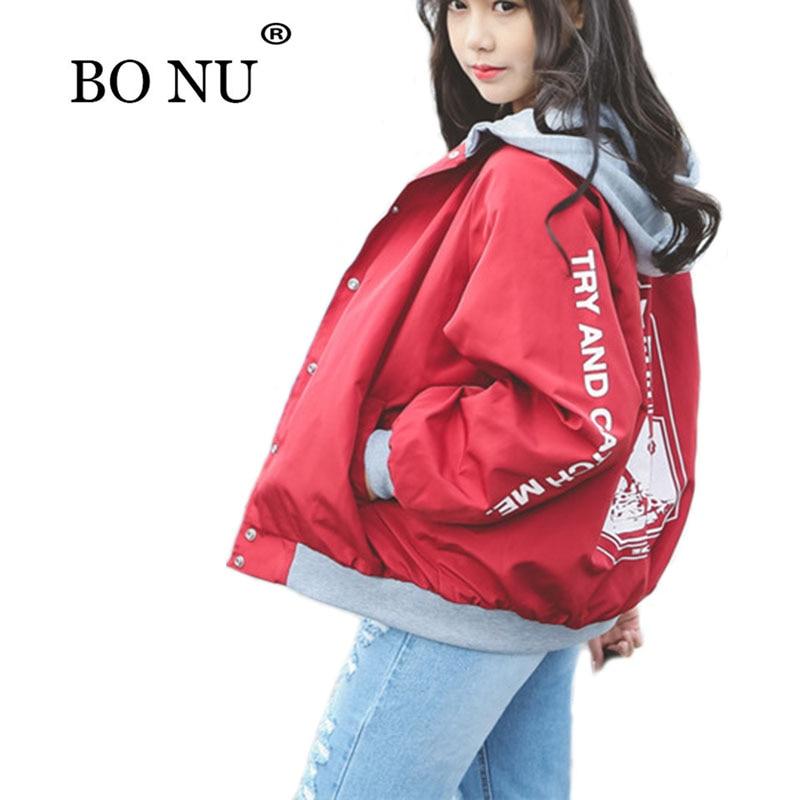 BONU New Spring Hooded Bomber Jacket Women Unisex Loosen Jacket Student BF Harajuku Coat Oversize Jacket Female Basic Coats