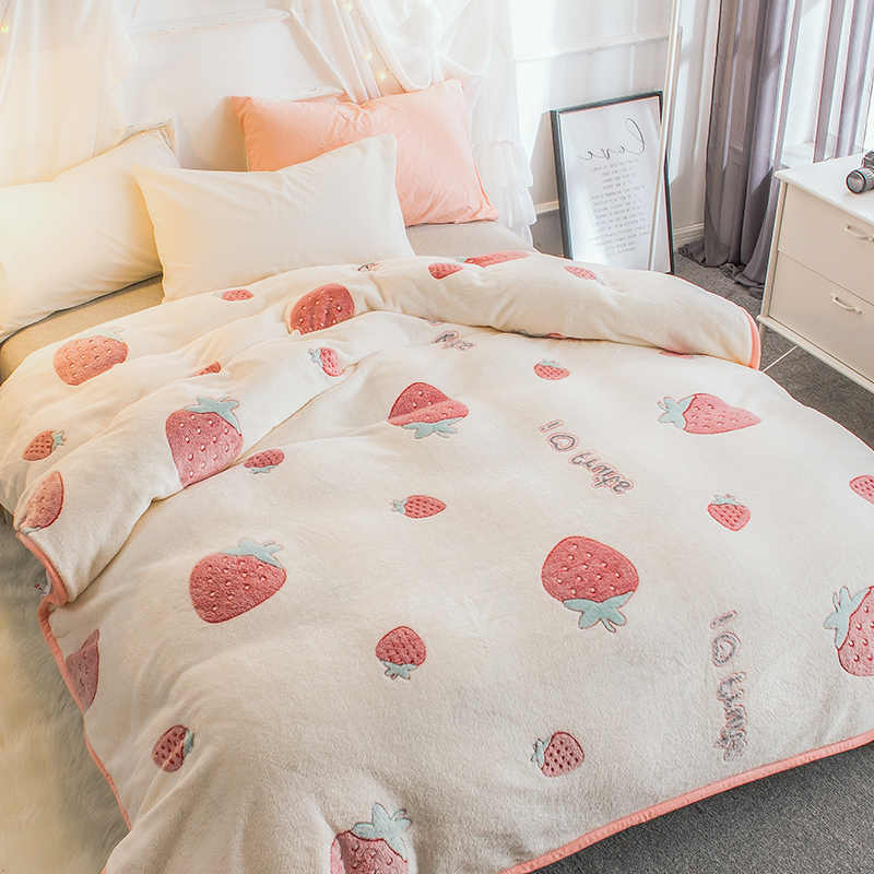 newly listed soft blanket strawberry coral fleece fabric blankets throws full queen king size bed cover velvet warmful BLKT new