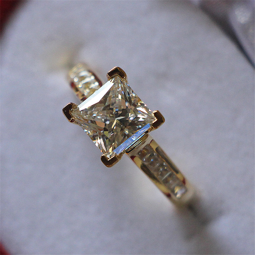 2Ct Princess Cut Synthetic Diamonds Ring Solid 925 Sterling Silver Ring Yellow Gold Color Engagement Jewelry