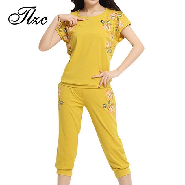 Tlzc moda impressão mulheres treino tamanho l-4xl solto o pescoço lady conjuntos de conjuntos de roupas casuais de manga curta padrão de flor mulher