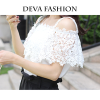 Deva Fashion Lace off shoulder Camis Women Slash neck ruffles splice white chiffon women Tops