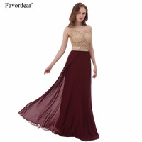 2016 New Burgundy Long Prom Dresses With Gold Appliques Beaded Scoop Neck A Line Plus Size