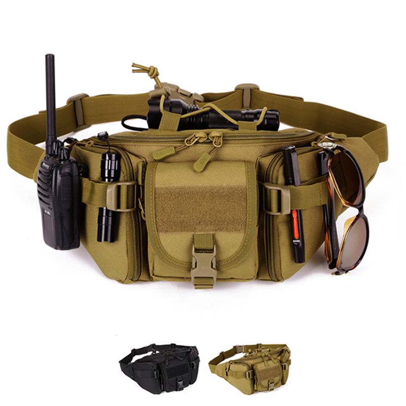Outdoor sports big waist bag army fan pack tactics more pocket pockets riding road Ya Sl ...