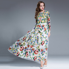 Casual Retro Dresses New Fashion Winter Long Sleeve flowers Embroidery White / Black Luxury 2017 Long Dress Women