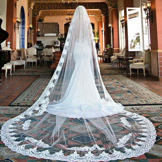 Elegant 2016 3 Meters Long White Ivory Lace Edge Wedding Veil Bridal With Comb Accessories Ee2057 In Veils From Weddings Events
