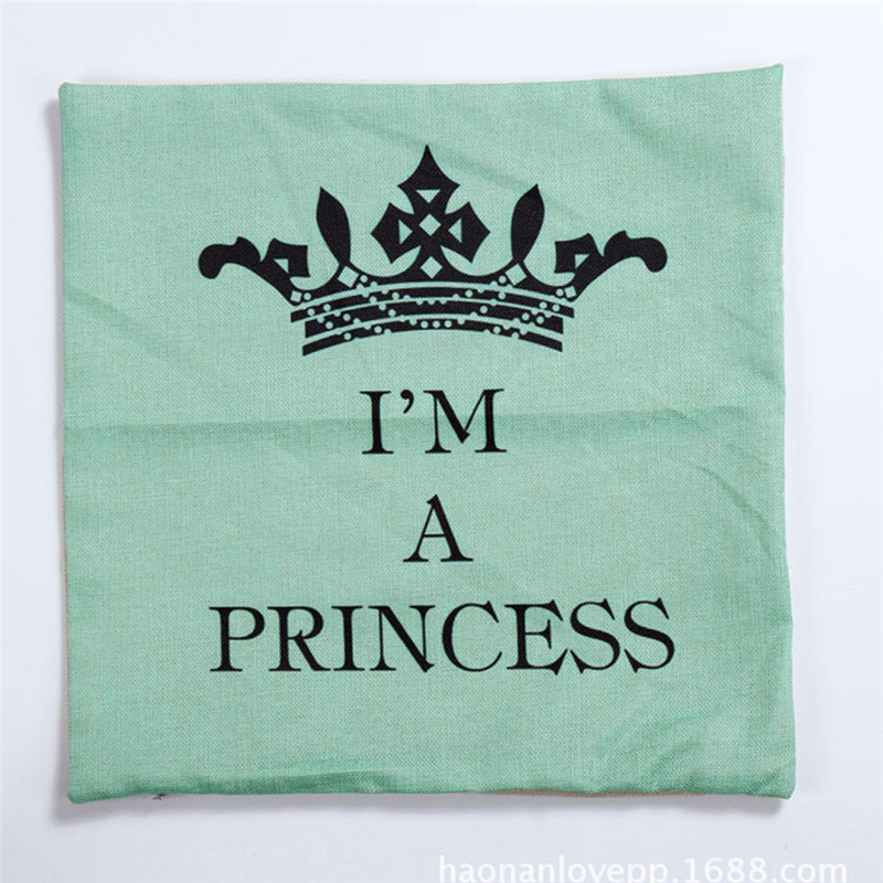 1PC Square green color Crown pillow case slip IM A PRINCESS letters waist throw pillow cover case drop shipping on sale