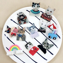 82d062a249d7 1 PCS Wear Clothes Cat Badges for Clothing Acrylic Badges Icon Cats Shaped  Decoration Icons on