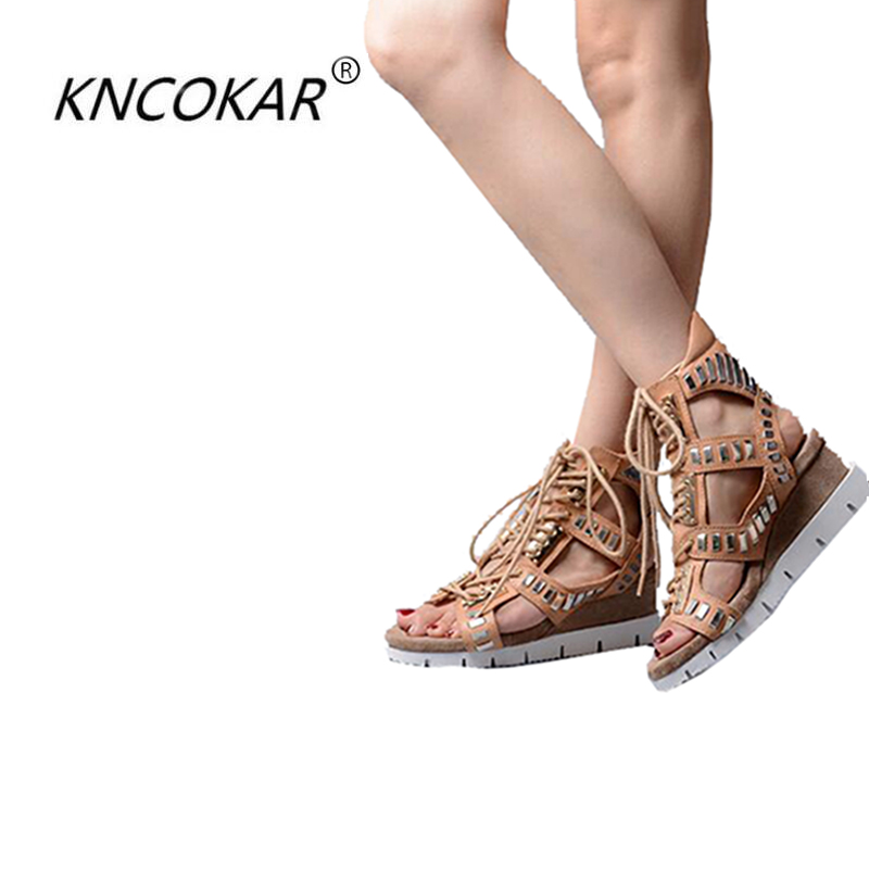 KNCOKAR 2018 Summer wedge heel color leather style sandals leisure with hollow cool boots punk pine cake and Roman styleKNCOKAR 2018 Summer wedge heel color leather style sandals leisure with hollow cool boots punk pine cake and Roman style