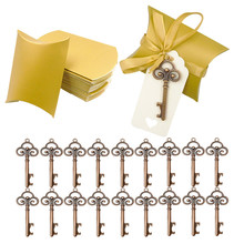 50set Opener+Rope+Box Wine Bottle Opener with Tags Gold Key Shape Party Wedding Favors Special Events Supplies Beer Tool