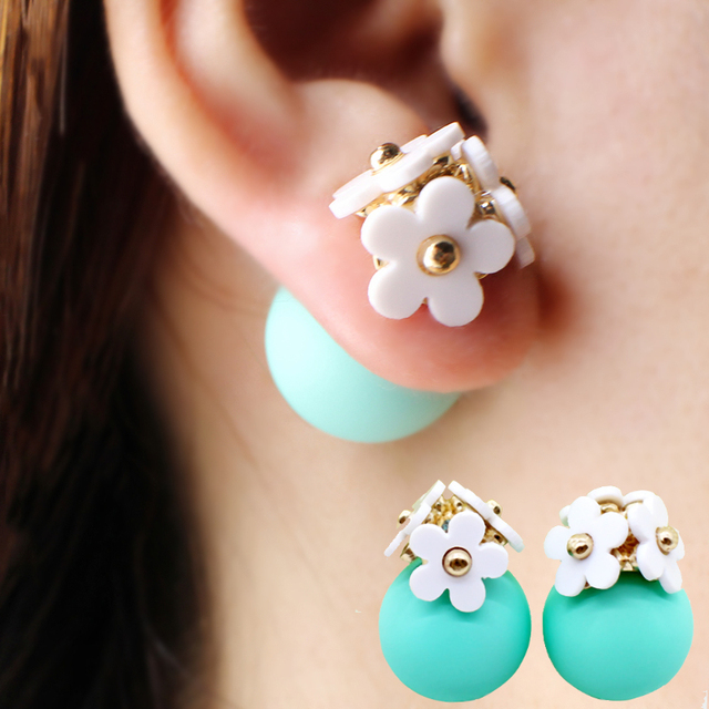 Pearl ball Earrings flower hiphop korea Double side Stud Earring