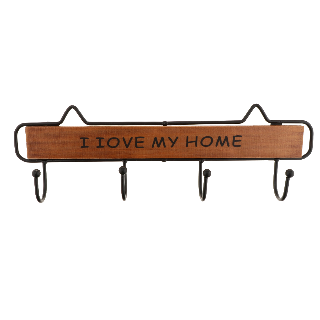Vintage Style Metal Wooden Wall Hook I LOVE MY HOME Storage Rack Clothes Hat Hanger Wall Key Hooks