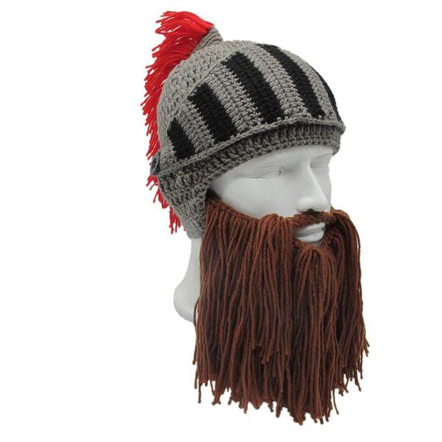 1 PC Men s Fashion Roman Helmet Red Tassel Barbarian Knight Knit Beard Hat  Handmade Face Mask Funny Beanie Ski Cap 1c6339fe1962