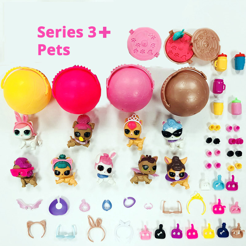 2/3 pcs New Version lol pet with sand Original cat puppy animal little girl figure in ball doll toy for Kid shop Limited Edition