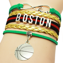 Infinity Love Boston Football Team Bracelet Blue Black Yellow Braid Customize Sports wristband Football Charm Bracelets
