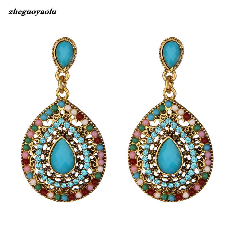 New Party Bijoux Bohemia Statement Crystal Drop Earrings Boho Turkish Vintage Ethnic Jewelry Drop Earrings For Women 2017