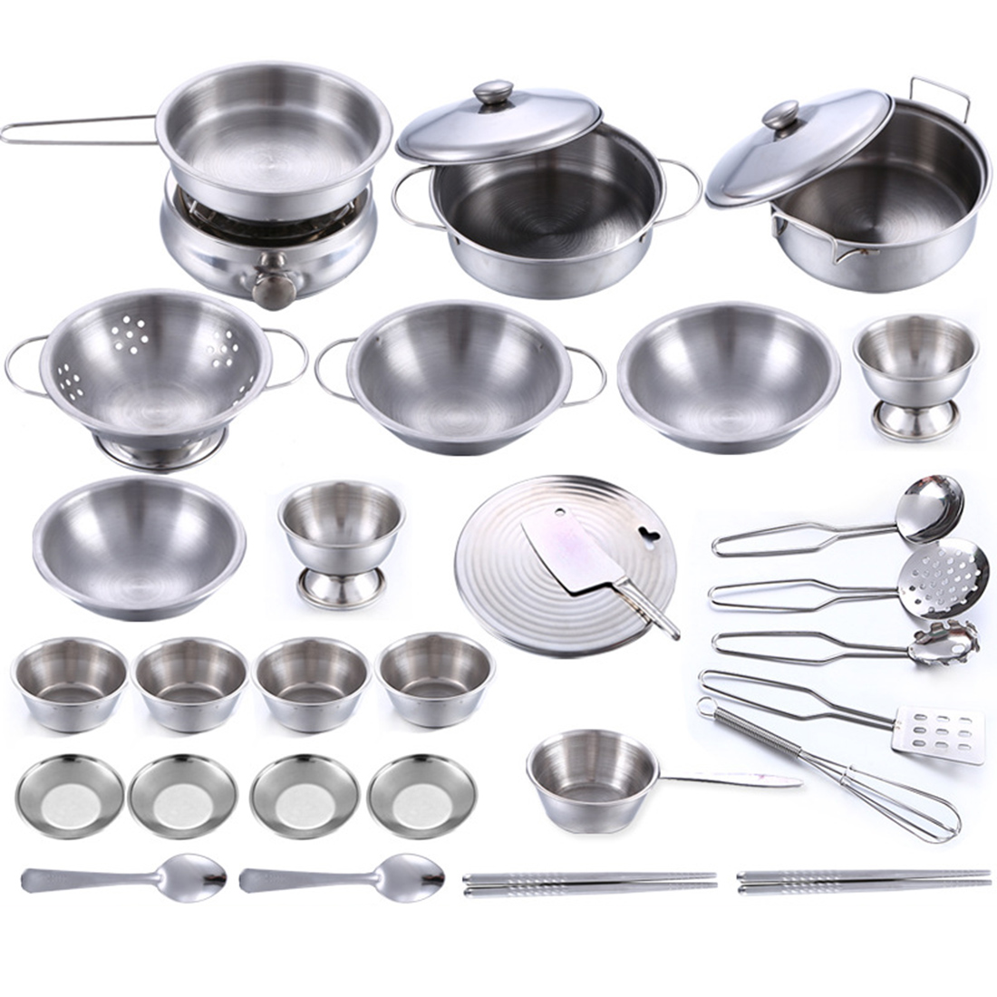 32Pcs/25pcs/16pcs Stainless Steel Kids House Kitchen Toy Cooking Cookware Children Pretend & Play Kitchen Playset - Silver
