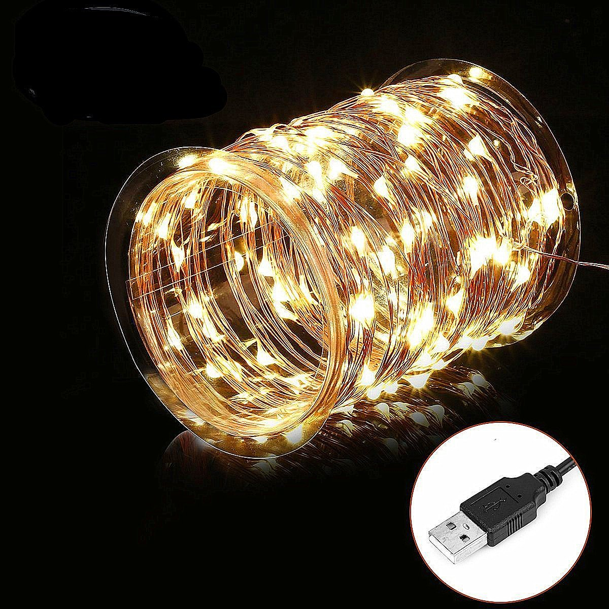 Waterproof 10m 100 Led Fairy String Lights USB Powered Copper Wire Lights for Bedroom Party Wedding Christmas Decorative Lights