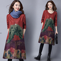 2016 autumn and winter the new retro-style women's large size loose printed thick dress long-sleeved cotton and linen dress