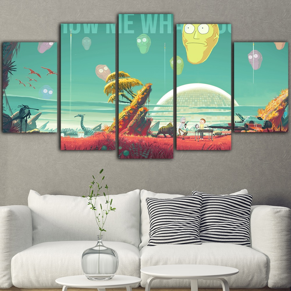 5 Piece Wall Painting Quadros Pictures Tableau Canvas Art
